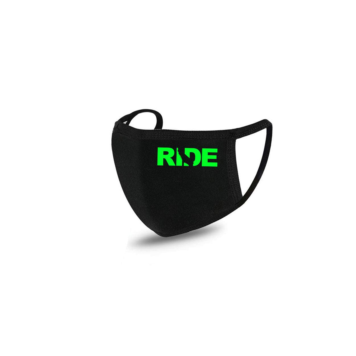 Ride California Standard Washable Face Mask Black (Green Logo)