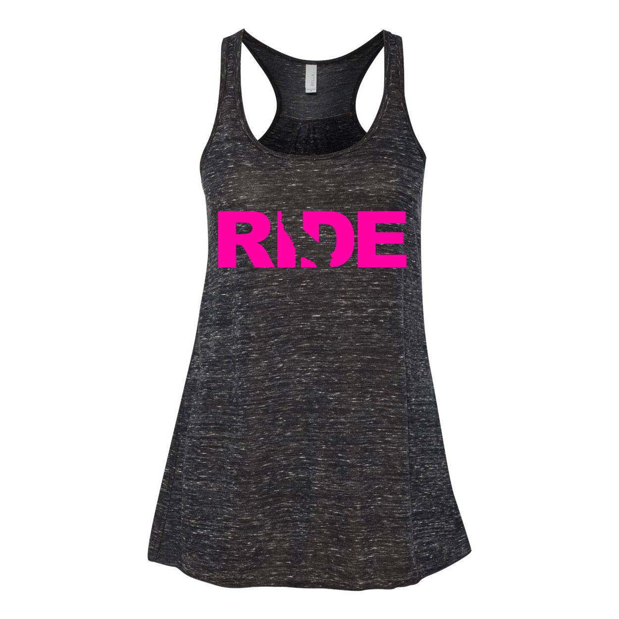 Ride California Classic Women's Flowy Racerback Tank Top Black Marble (Pink Logo)