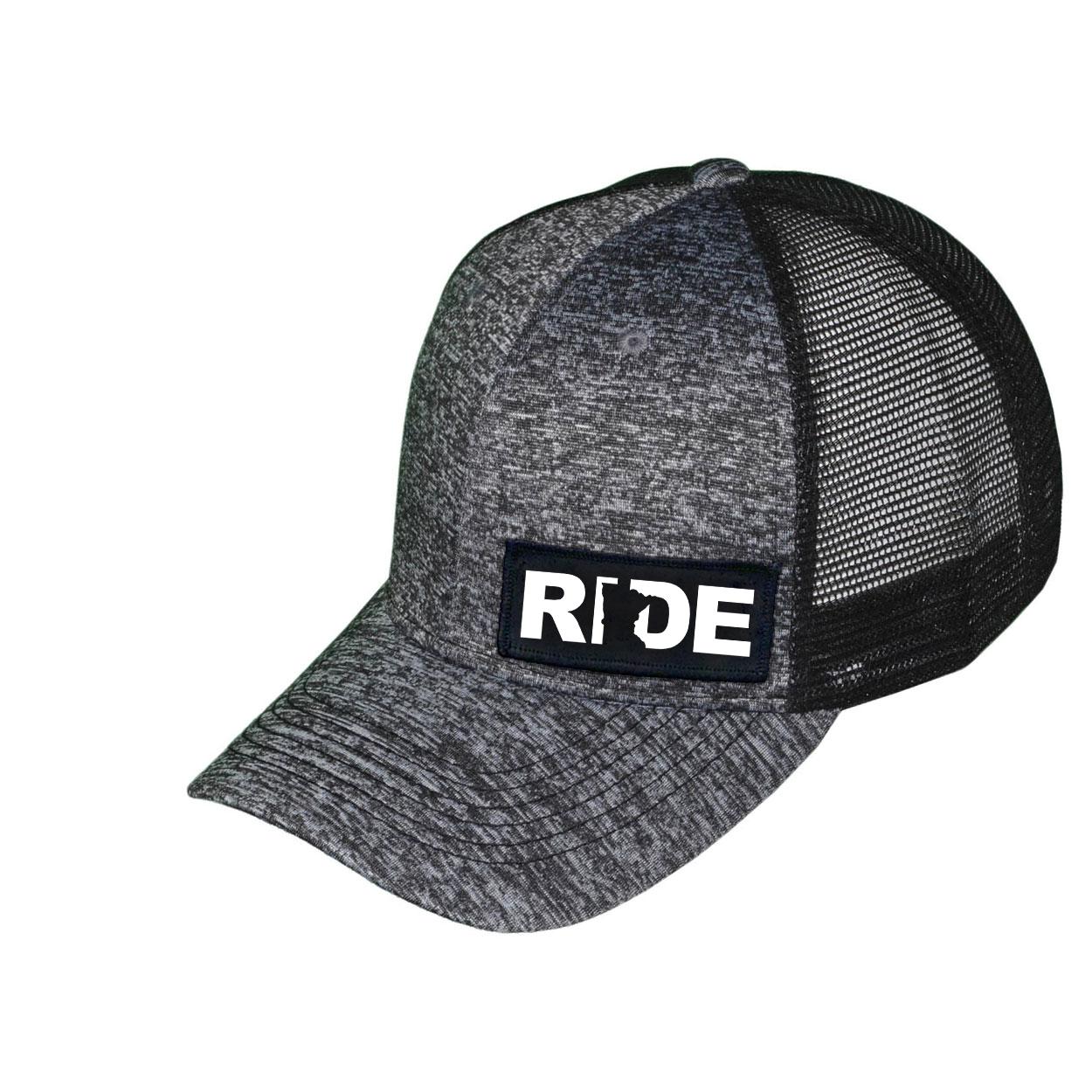 Ride Minnesota Night Out Woven Patch Melange Snapback Trucker Hat Gray/Black (White Logo)