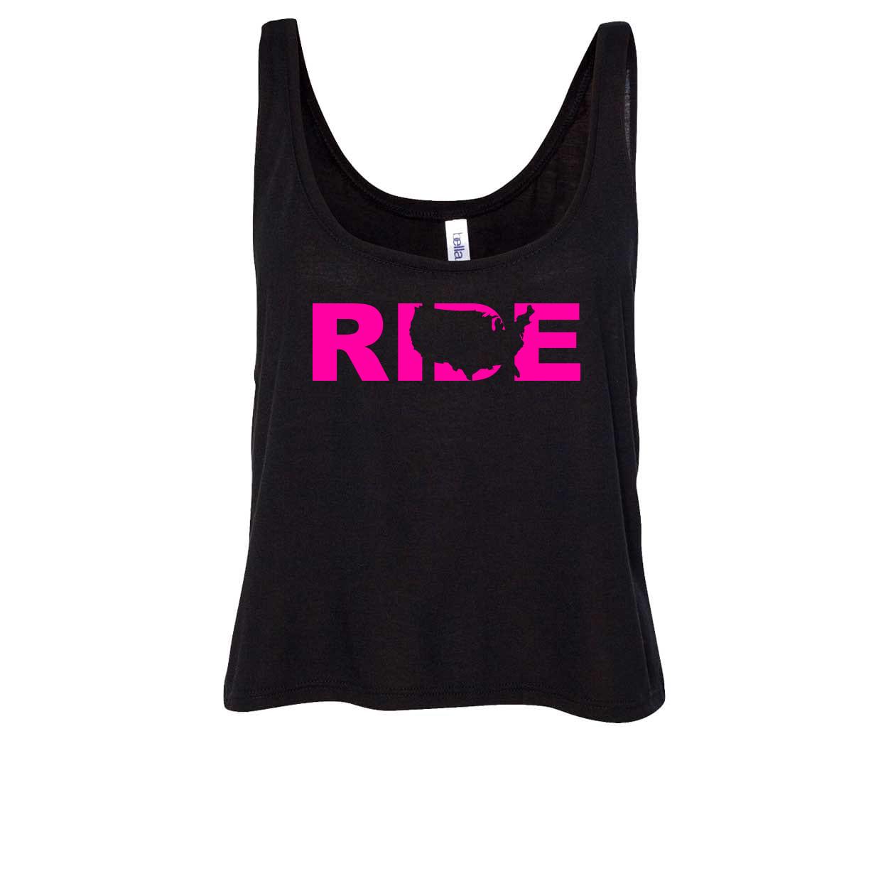Ride United States Classic Womens Flowy Semi Cropped Tank Black (Pink Logo)