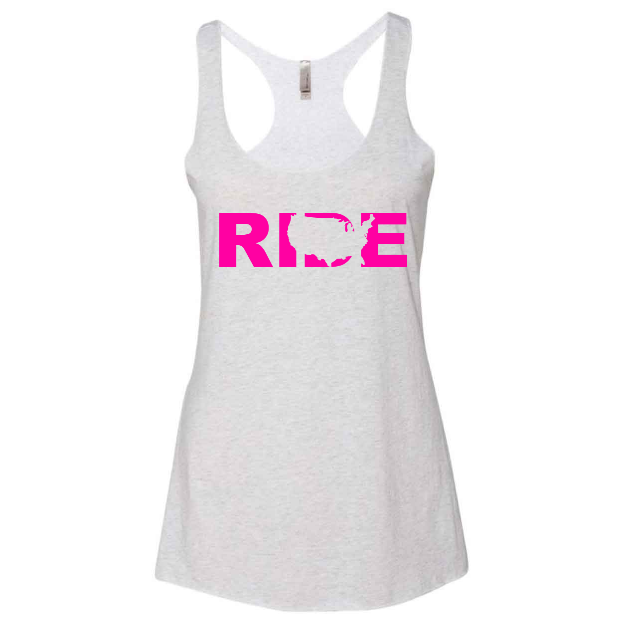 Ride United States Classic Women's Ultra Thin Tank Top Heather White (Pink Logo)
