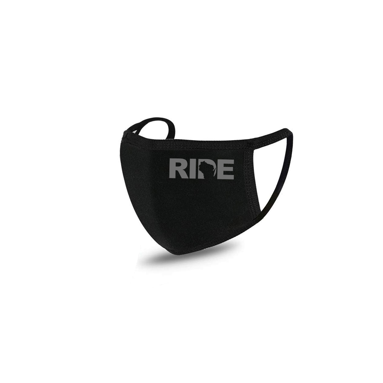Ride Wisconsin Standard Washable Face Mask Black (Gray Logo)