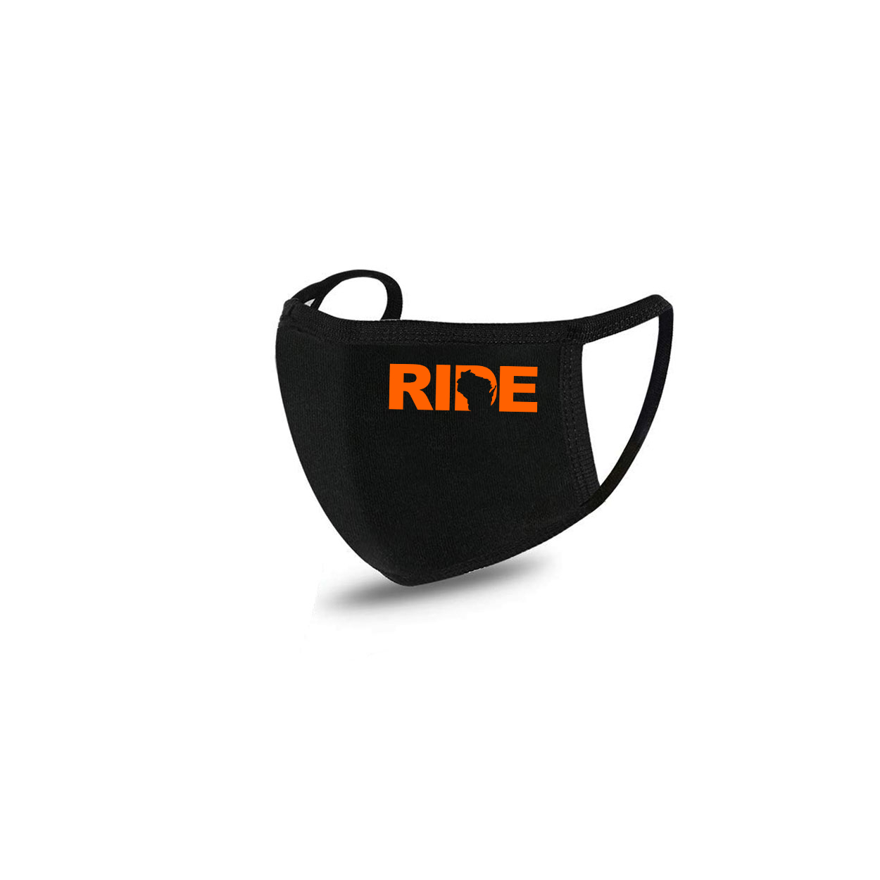 Ride Wisconsin Standard Washable Face Mask Black (Orange Logo)