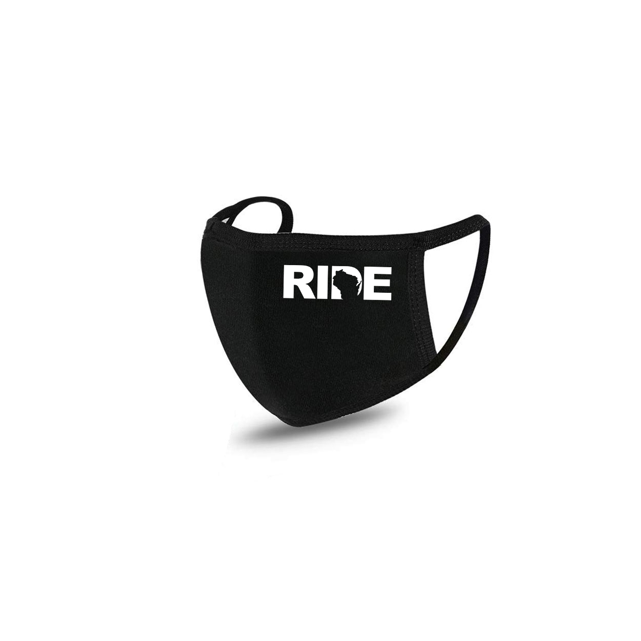 Ride Wisconsin Standard Washable Face Mask Black (White Logo)