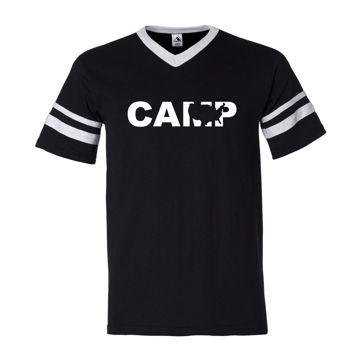 Camp United States Classic Premium Striped Jersey T-Shirt Black/White (White Logo)