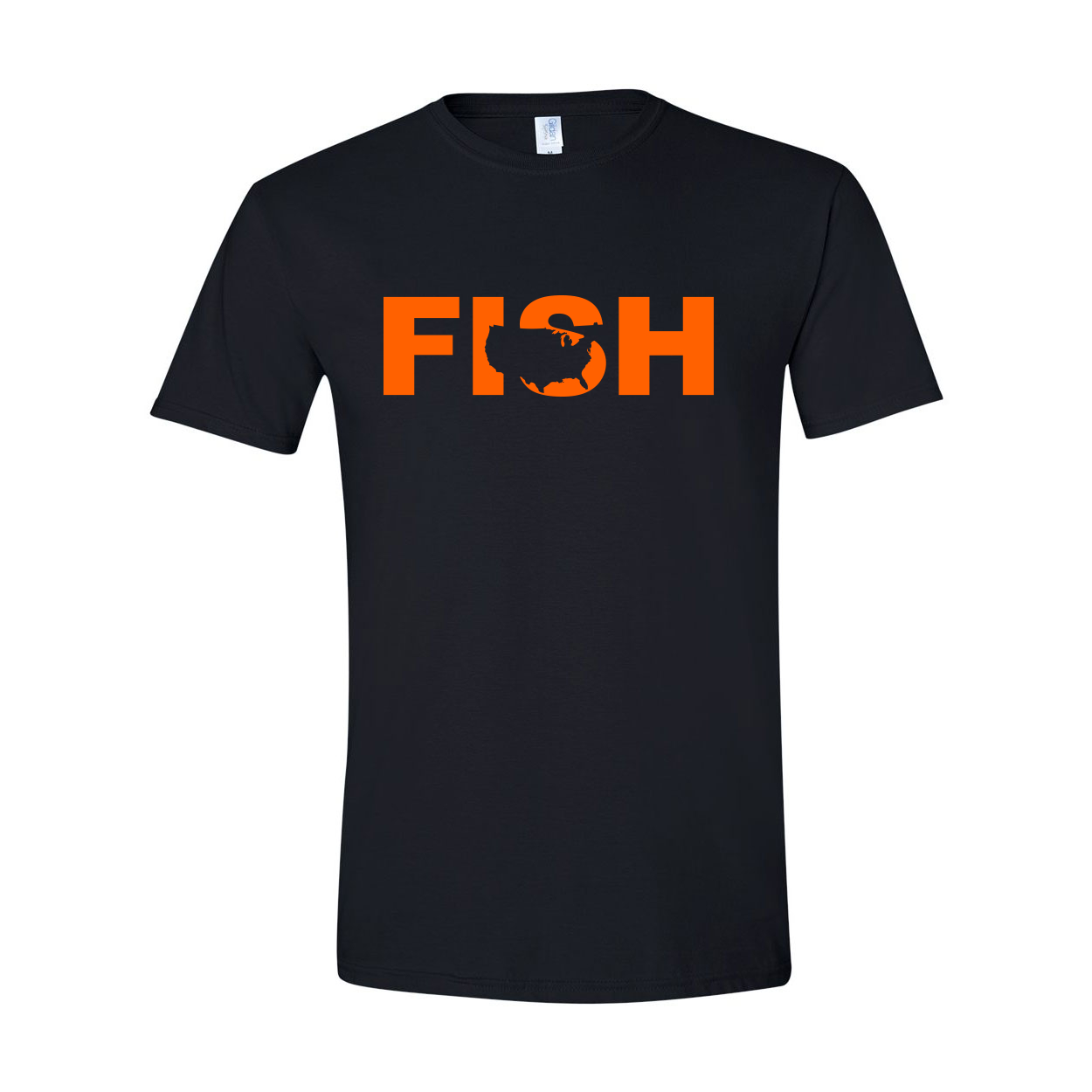 Fish United States Classic T-Shirt Black (Orange Logo)