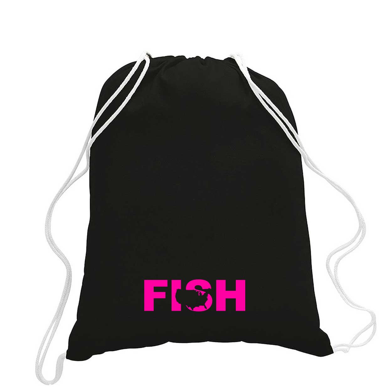 Fish United States Classic Drawstring Sport Pack Bag/Cinch Sack Black (Pink Logo)
