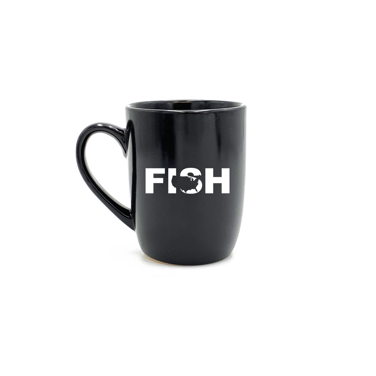 Fish United States Classic 12oz Stoneware Glass Coffee Mug Black (White Logo)