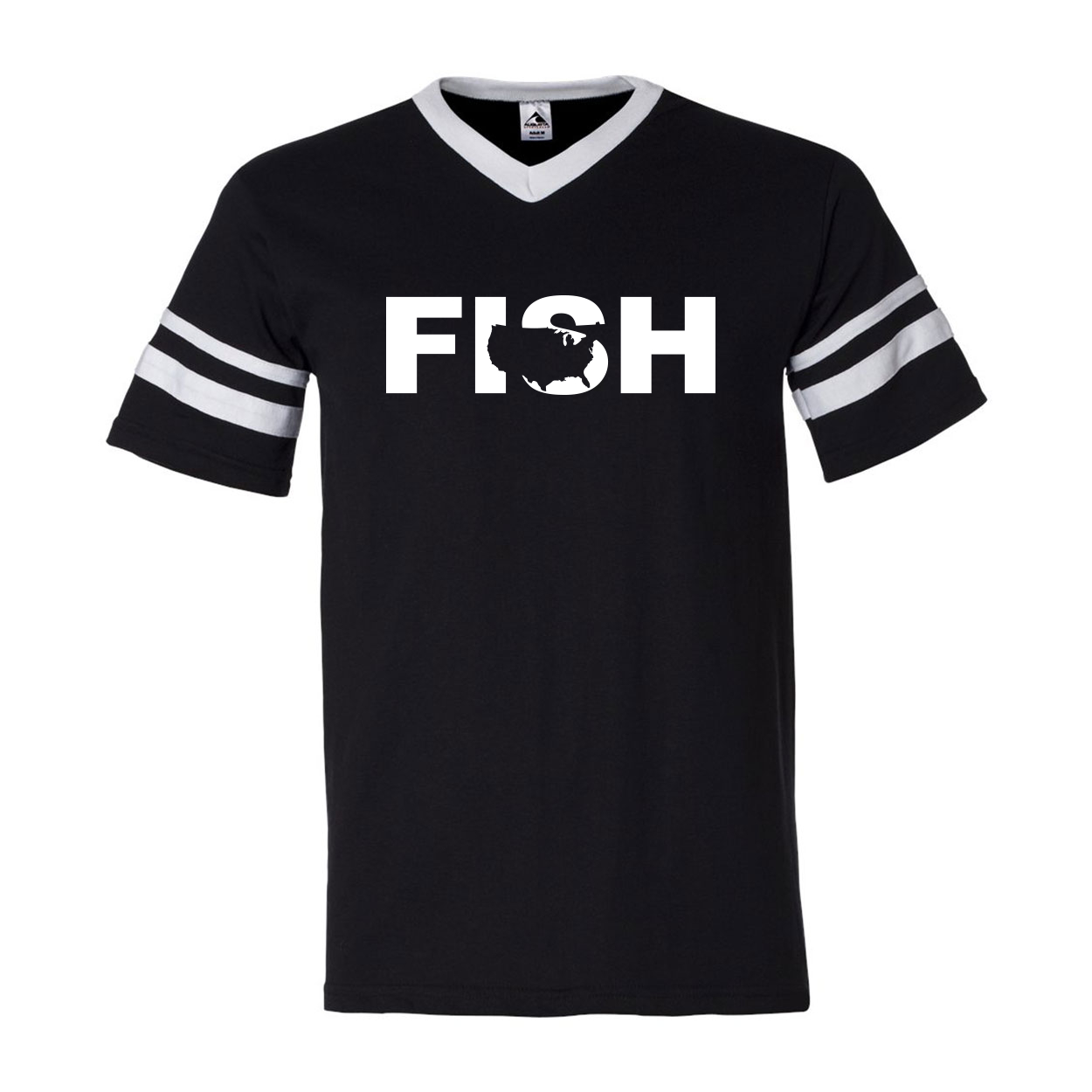 Fish United States Classic Premium Striped Jersey T-Shirt Black/White (White Logo)