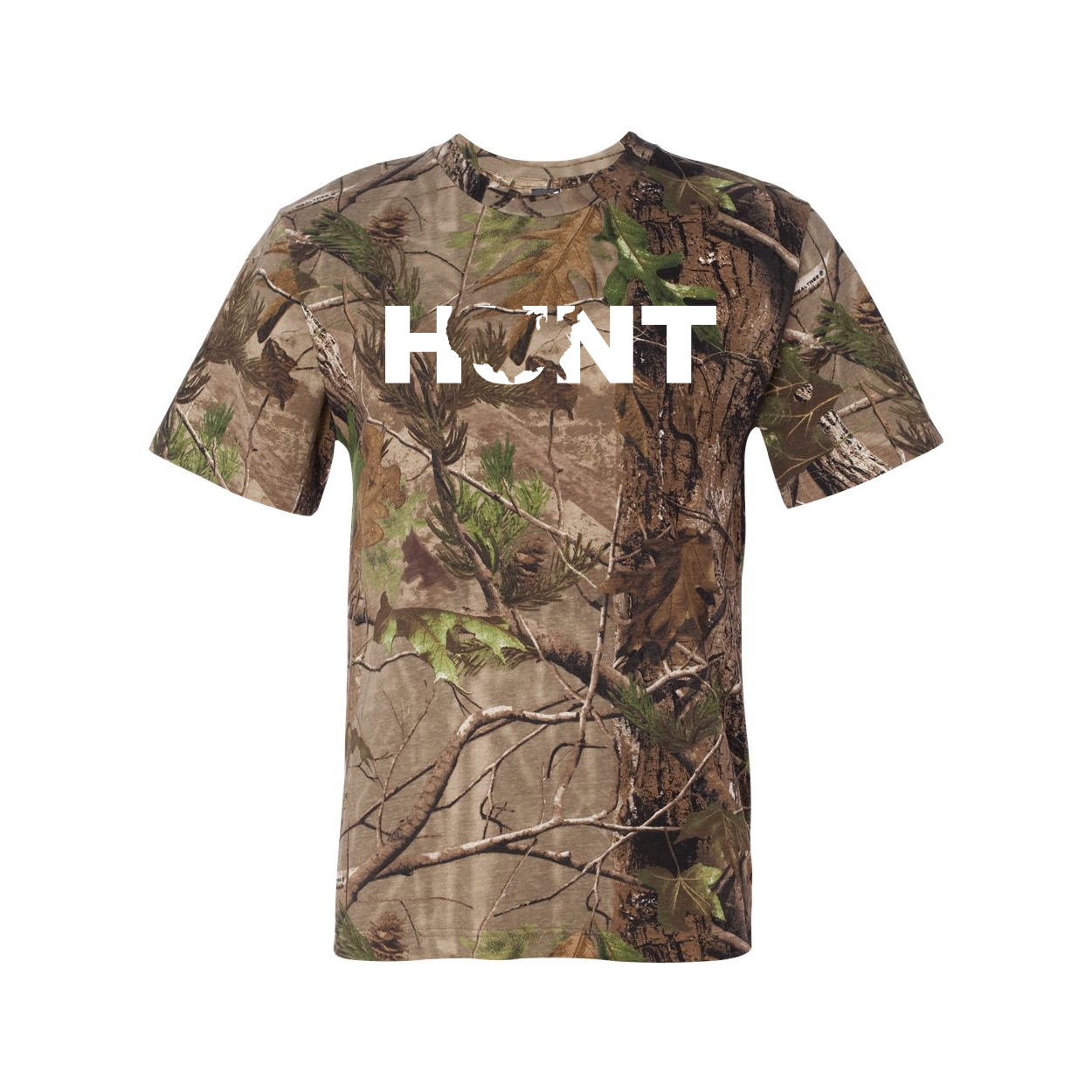 Hunt United States Classic Premium T-Shirt RealTree Camo (White Logo)
