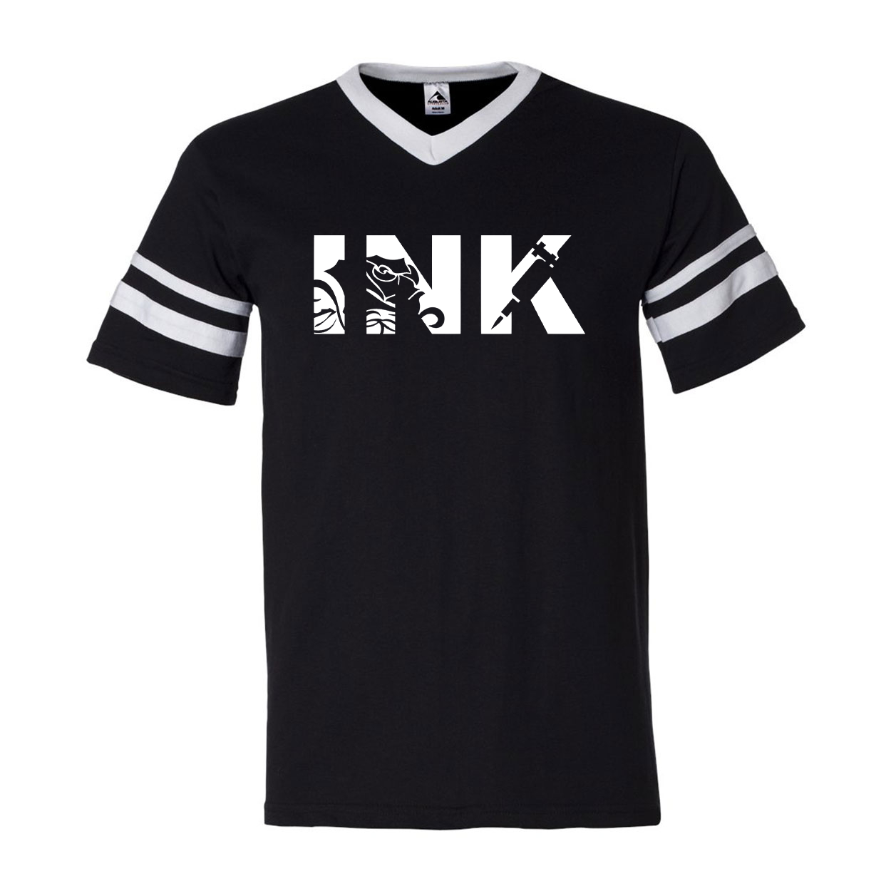 Ink Tattoo Logo Classic Premium Striped Jersey T-Shirt Black/White (White Logo)