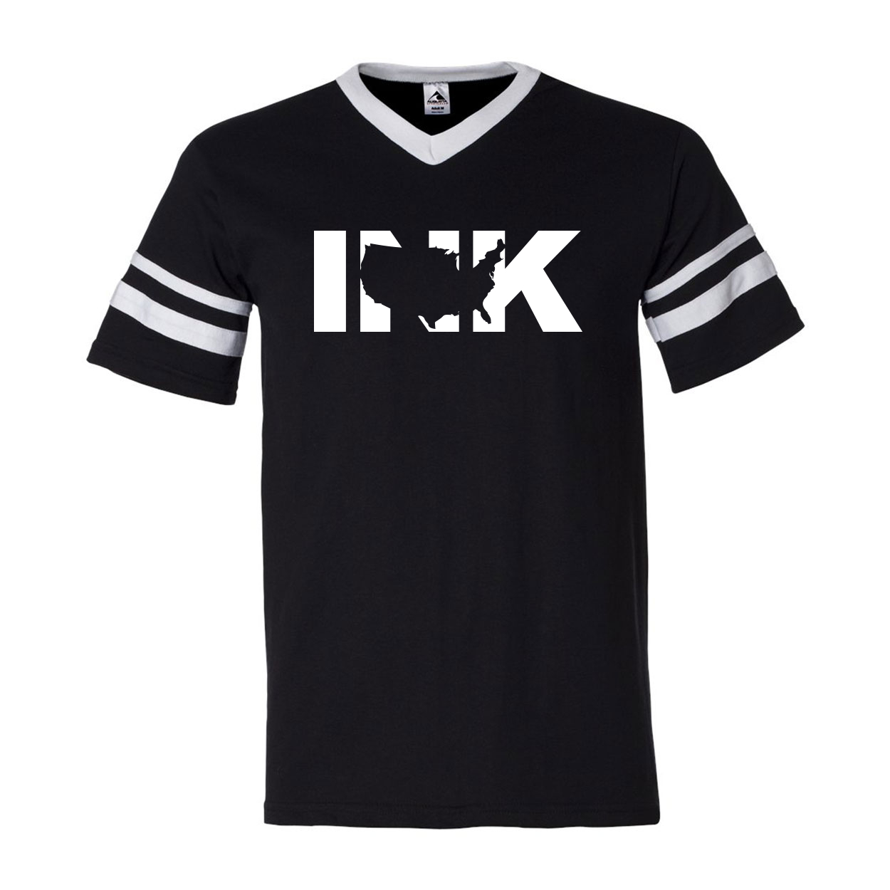 Ink United States Classic Premium Striped Jersey T-Shirt Black/White (White Logo)