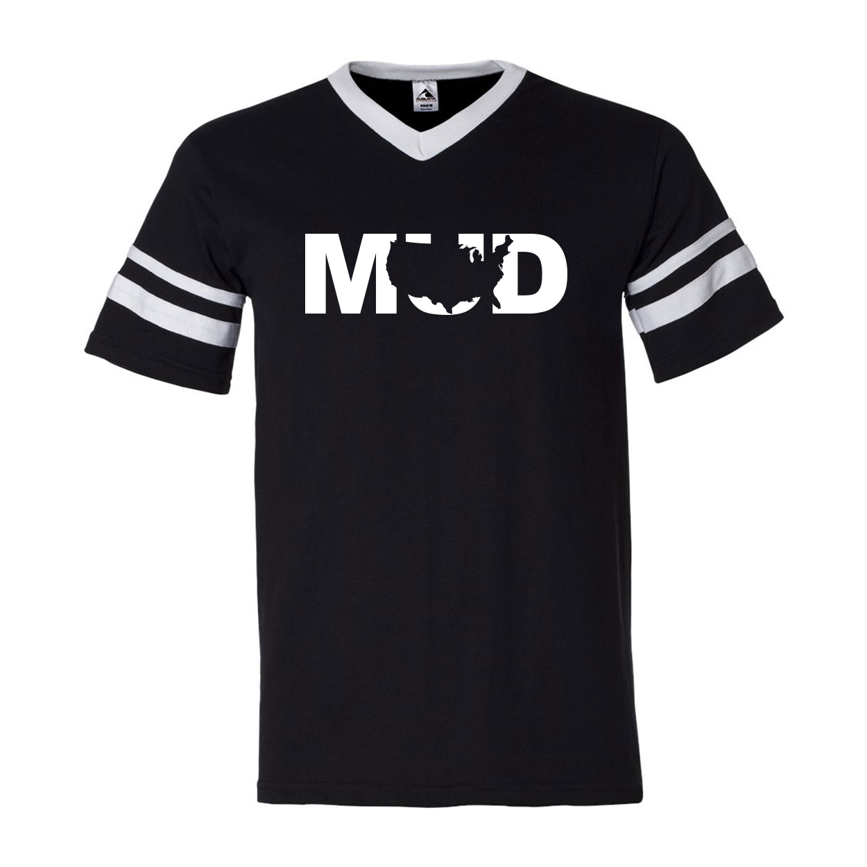 Mud United States Classic Premium Striped Jersey T-Shirt Black/White (White Logo)