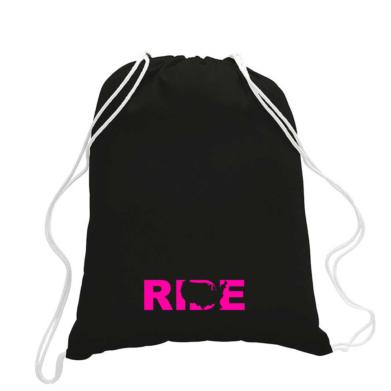 Ride United States Classic Drawstring Sport Pack Bag/Cinch Sack Black (Pink Logo)