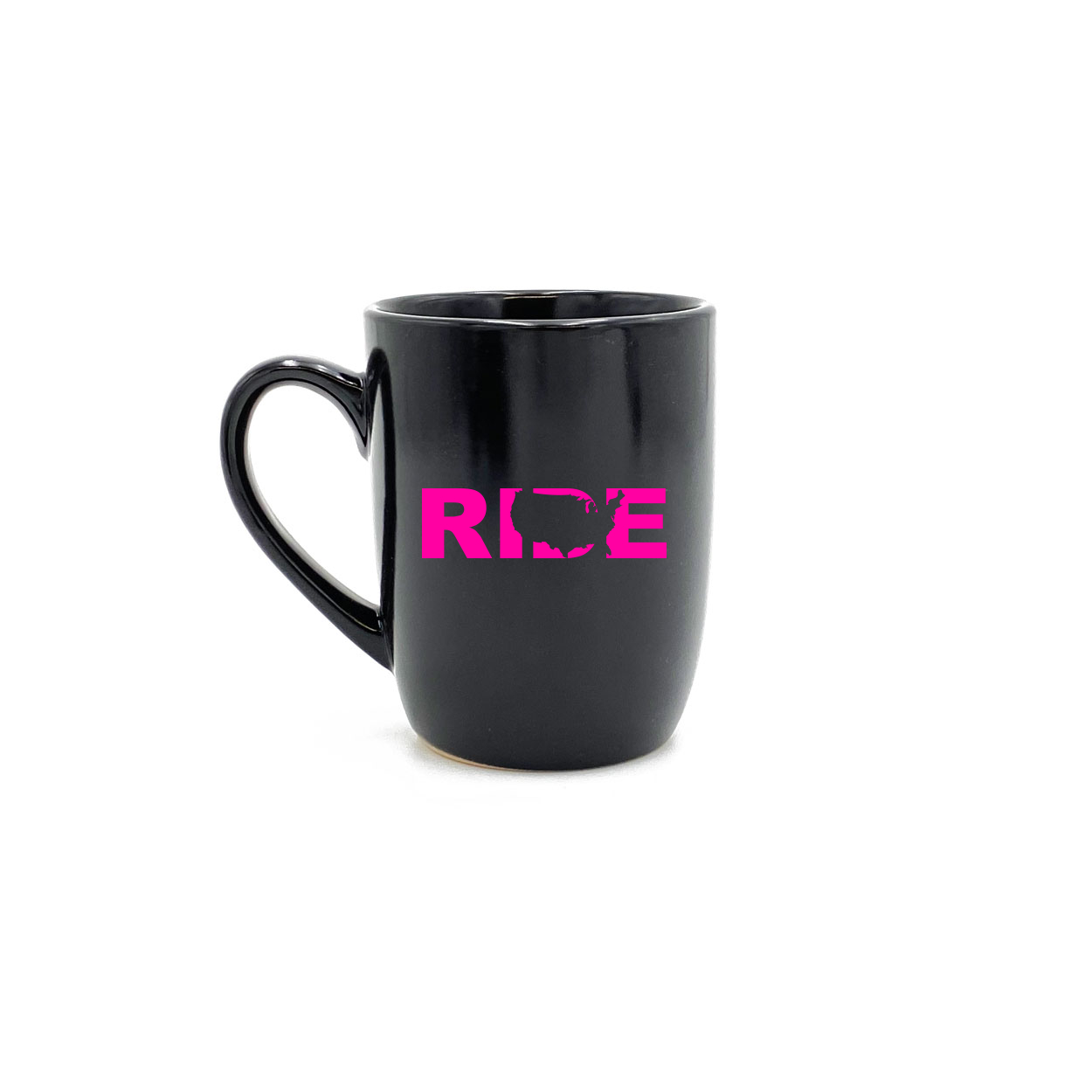 Ride United States Classic 12oz Stoneware Glass Coffee Mug Black (Pink Logo)