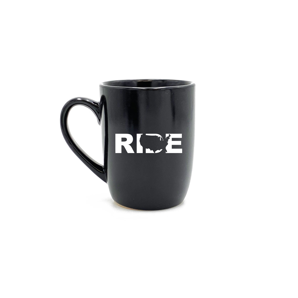 Ride United States Classic 12oz Stoneware Glass Coffee Mug Black (White Logo)