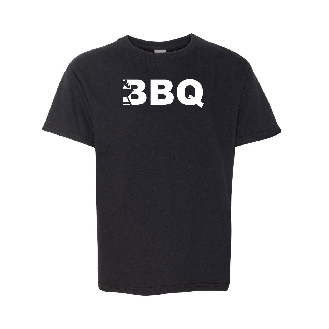 BBQ Grill Logo Classic Youth T-Shirt Black (White Logo)