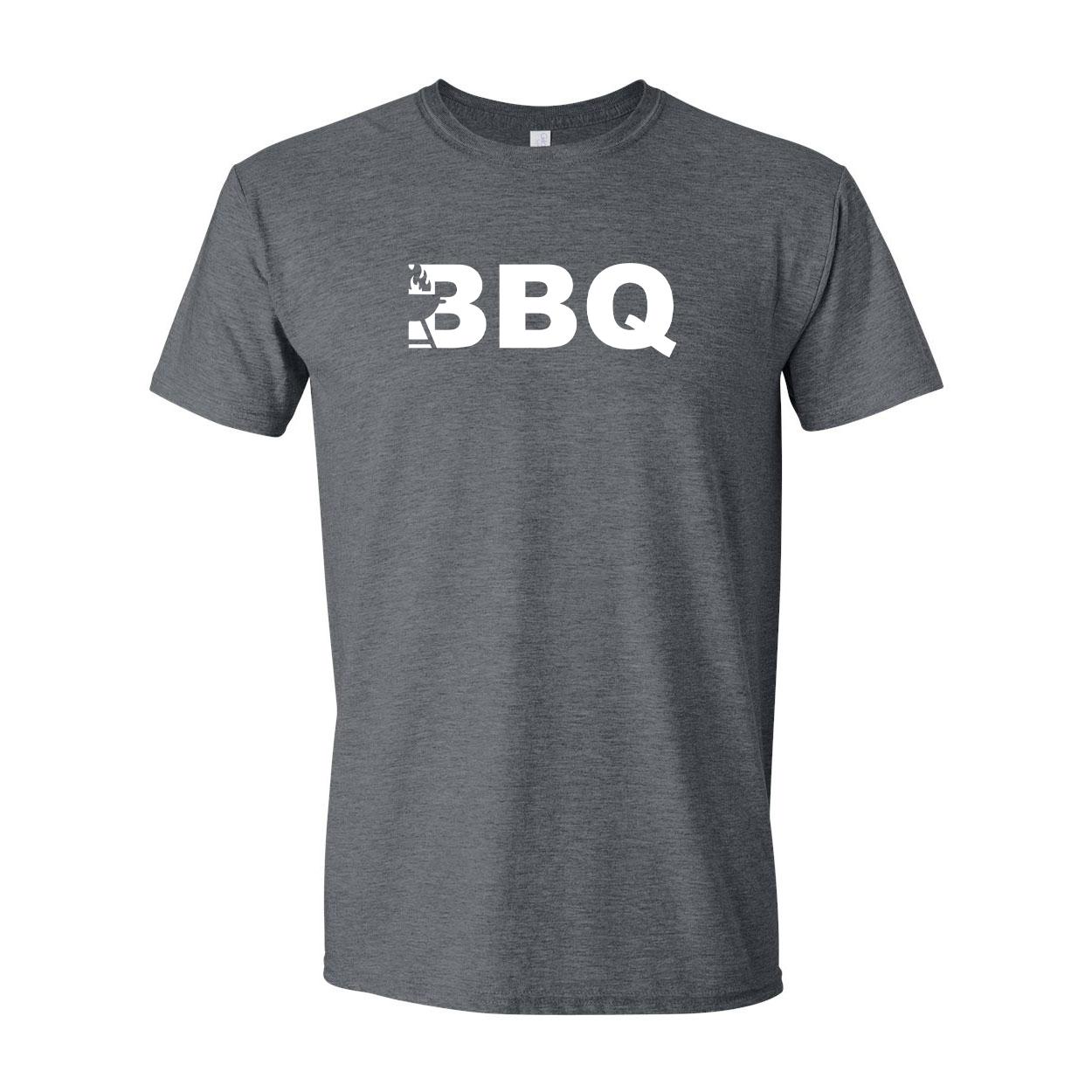 BBQ Grill Logo Classic T-Shirt Dark Heather Gray (White Logo)