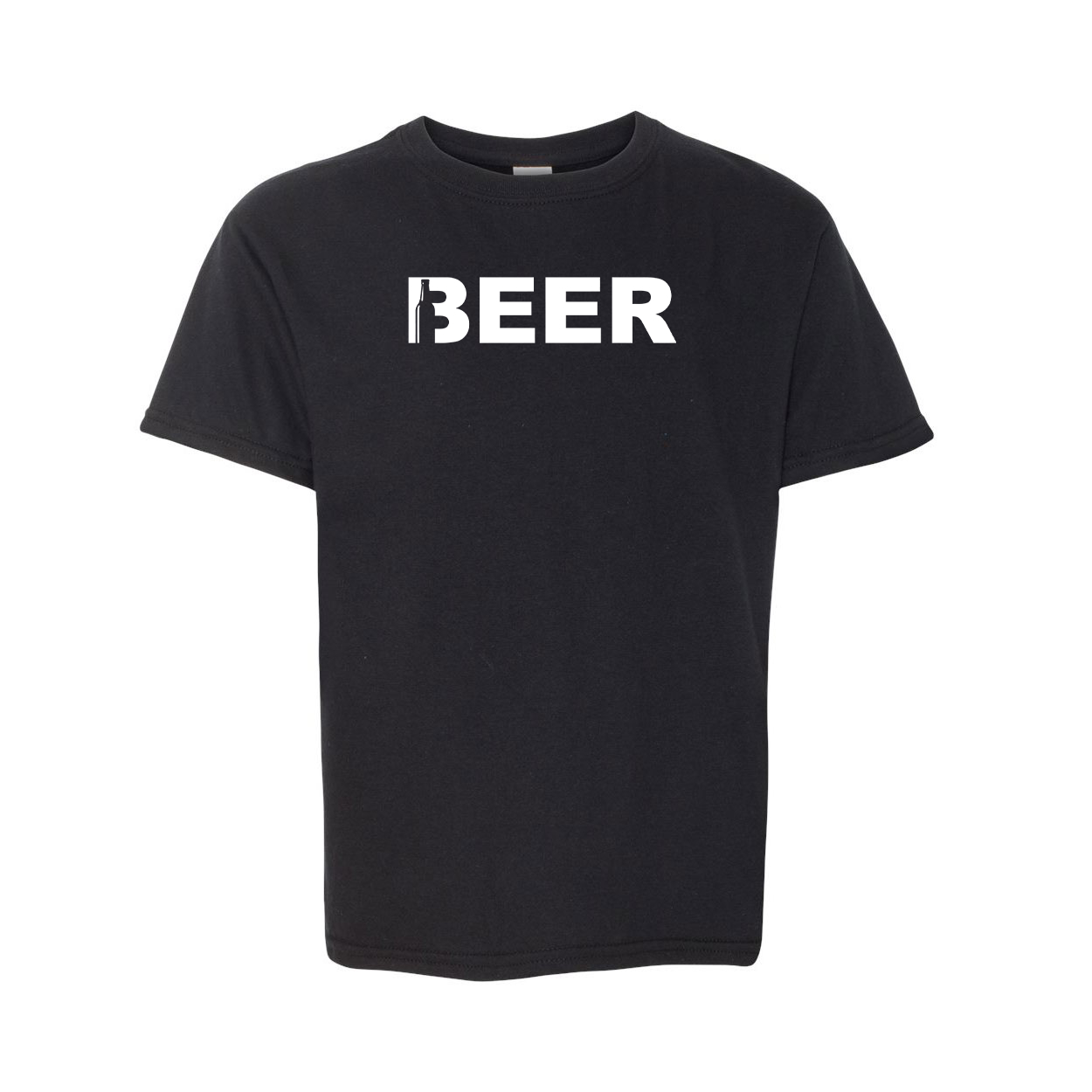 Beer Bottle Logo Classic Youth T-Shirt Black (White Logo)