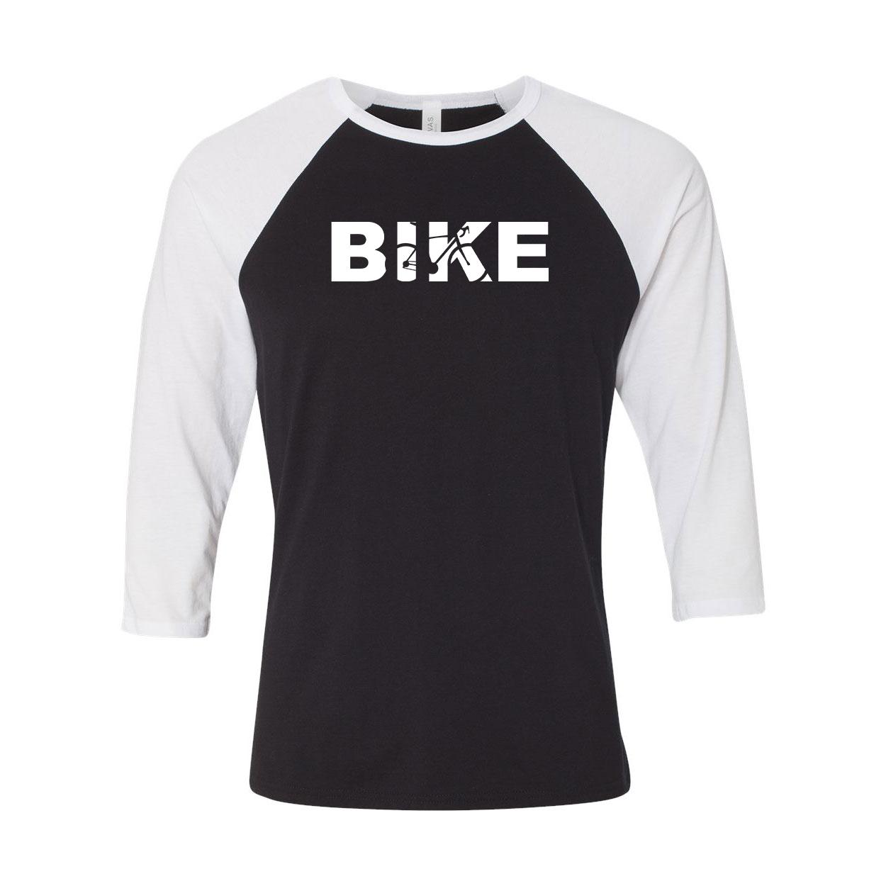 Bike Cycling Logo Classic Raglan Shirt Black/White (White Logo)
