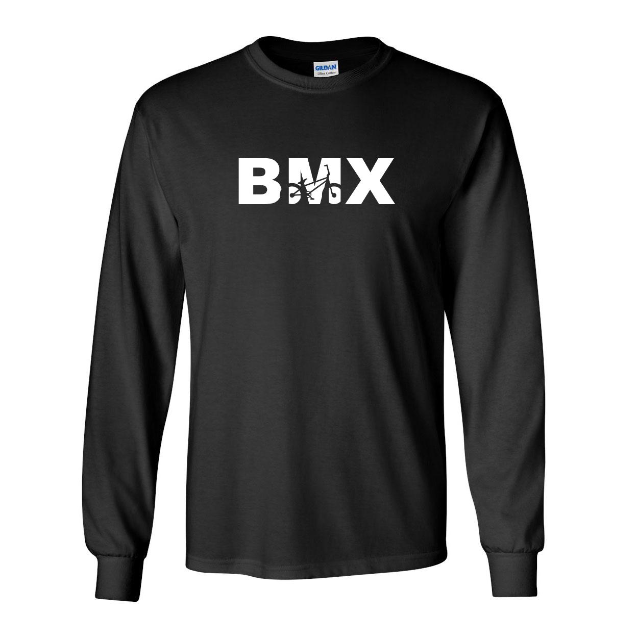 BMX Bike Logo Classic Long Sleeve T-Shirt Black (White Logo)
