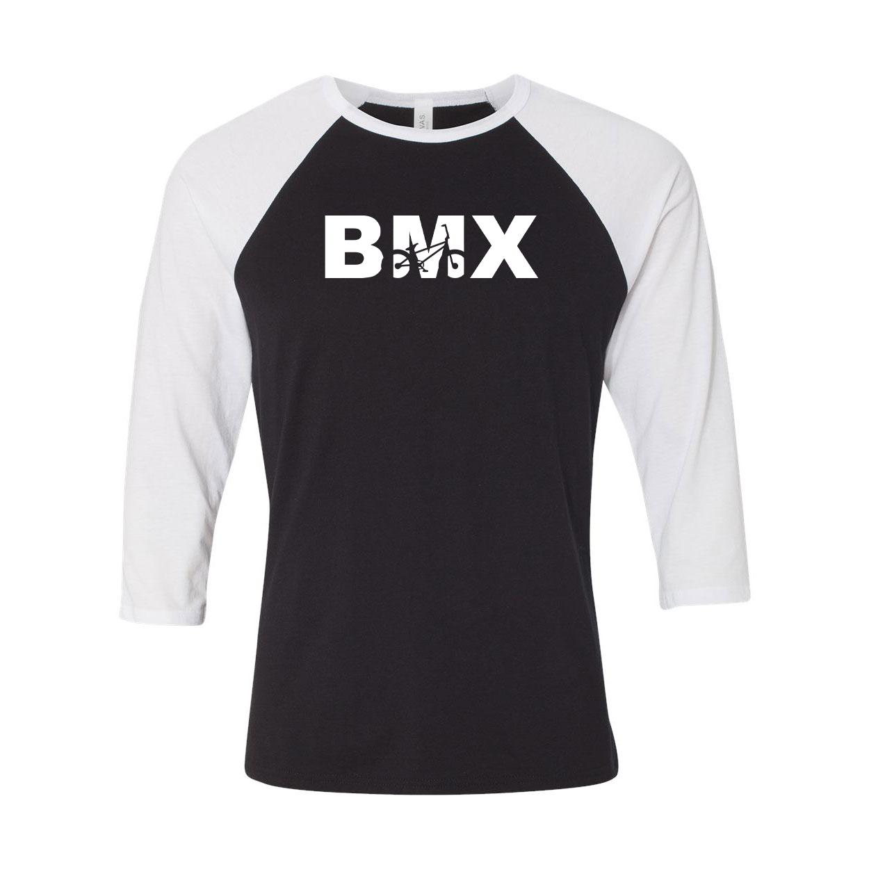 BMX Bike Logo Classic Raglan Shirt Black/White (White Logo)