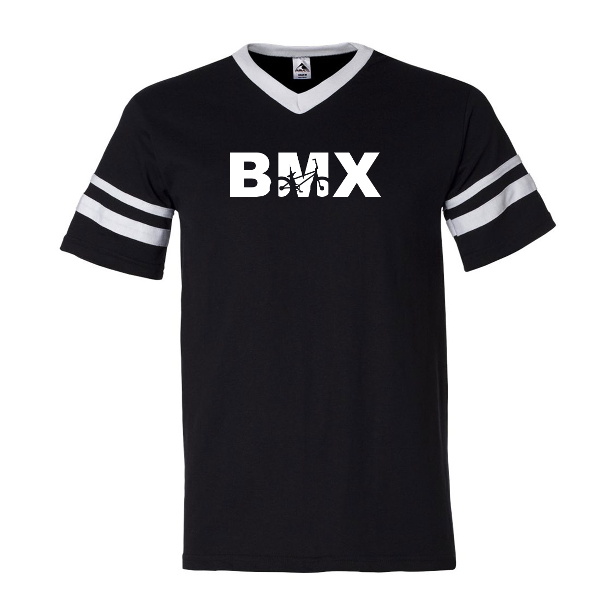 BMX Bike Logo Classic Premium Striped Jersey T-Shirt Black/White (White Logo)