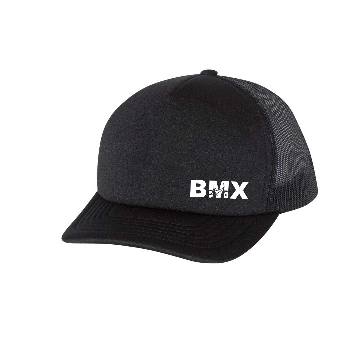 BMX Bike Logo Night Out Premium Foam Trucker Snapback Hat Black (White Logo)
