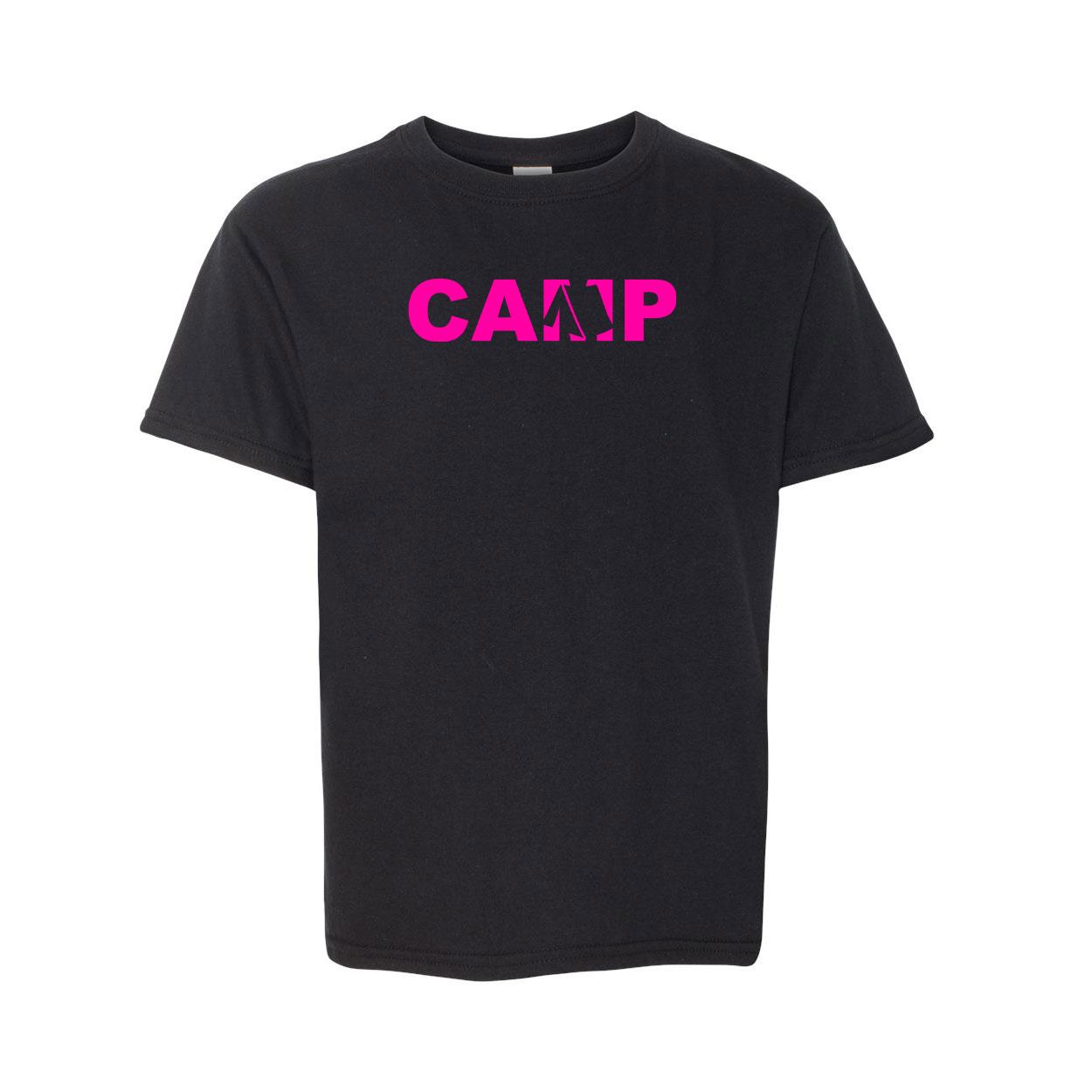 Camp Tent Logo Classic Youth T-Shirt Black (Pink Logo)