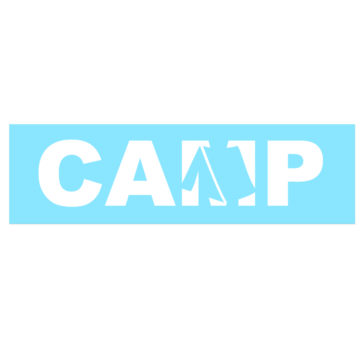 Camp Tent Logo Classic Decal (White Logo)