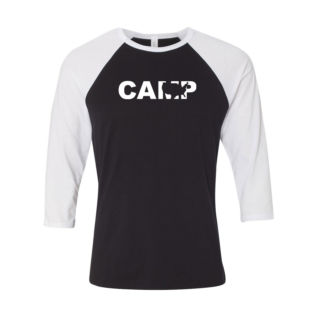 Camp United States Classic Raglan Shirt Black/White (White Logo)