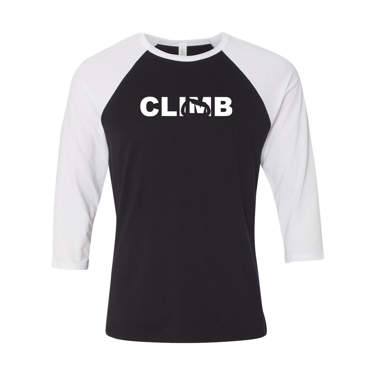 Climb Carabiner Logo Classic Raglan Shirt Black/White (White Logo)