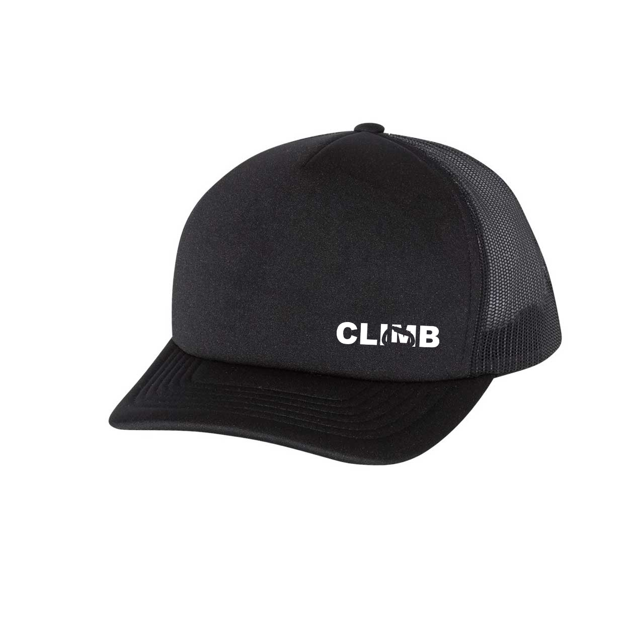 Climb Carabiner Logo Night Out Premium Foam Trucker Snapback Hat Black (White Logo)