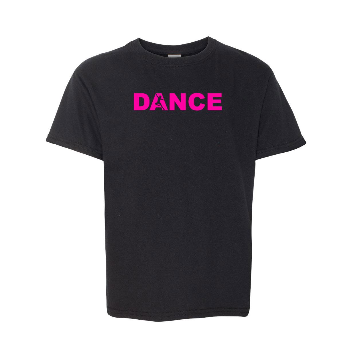 Dance Silhouette Logo Classic Youth T-Shirt Black (Pink Logo)