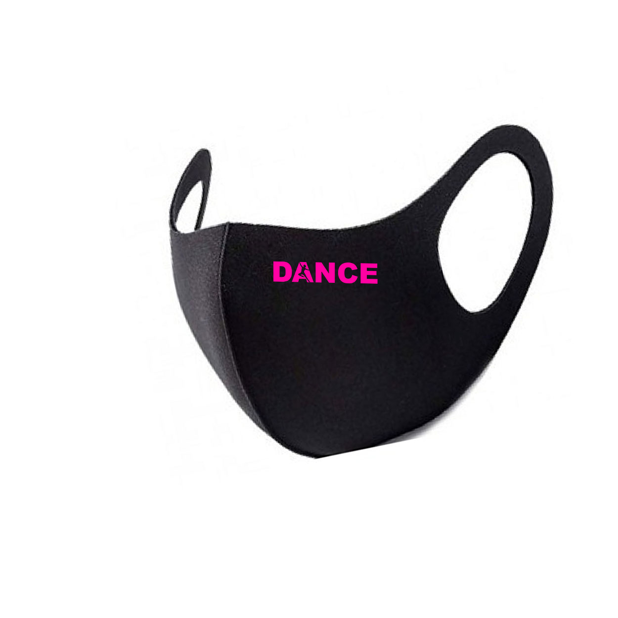 Dance Silhouette Logo Night Out Fitted Washable Face Mask Black (Pink Logo)