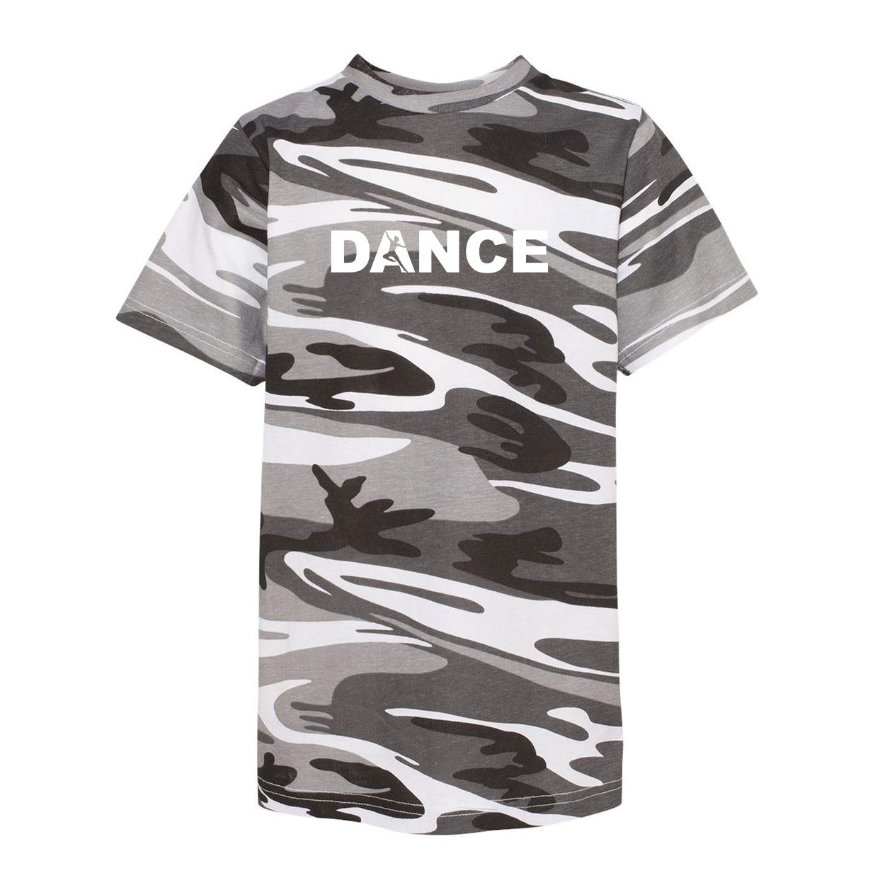 Dance Silhouette Logo Classic Youth Unisex T-Shirt Urban Camo (White Logo)