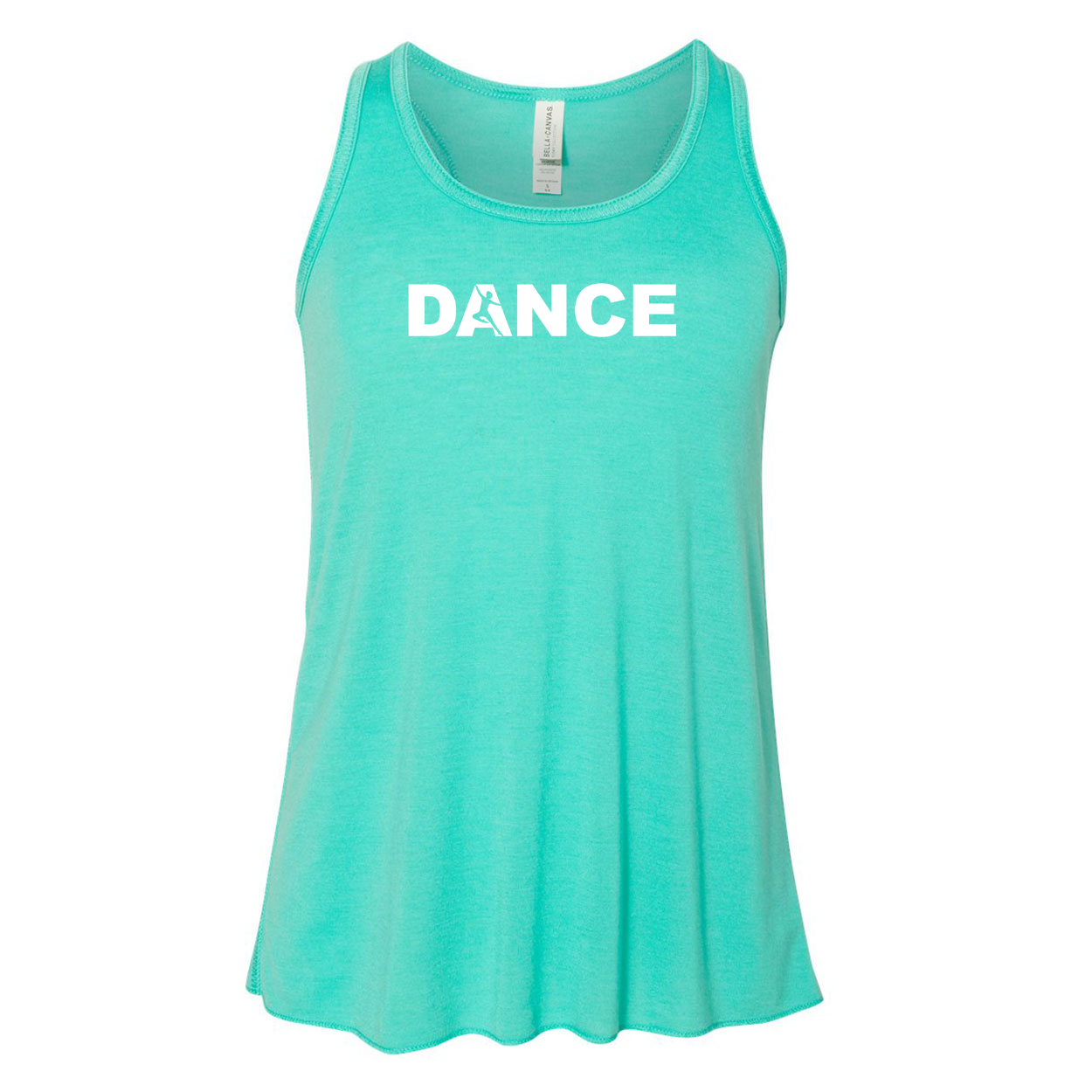 Dance Silhouette Logo Classic Youth Girls Flowy Racerback Tank Top Teal (White Logo)