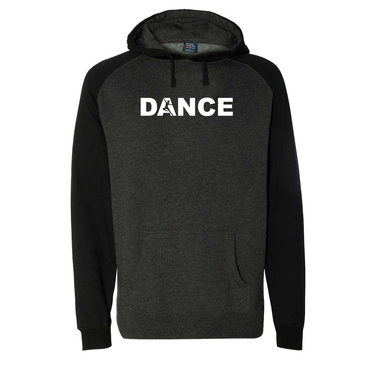 Dance Silhouette Logo Classic Raglan Hooded Pullover Sweatshirt Charcoal/Heather Black (White Logo)