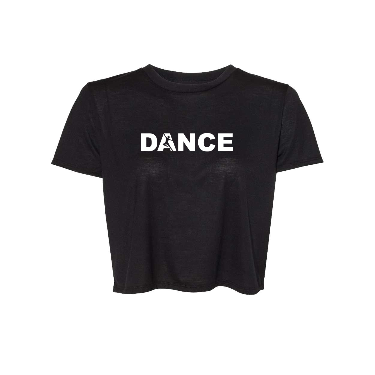 Dance Silhouette Logo Classic Womens Flowy Cropped Tee Black (White Logo)