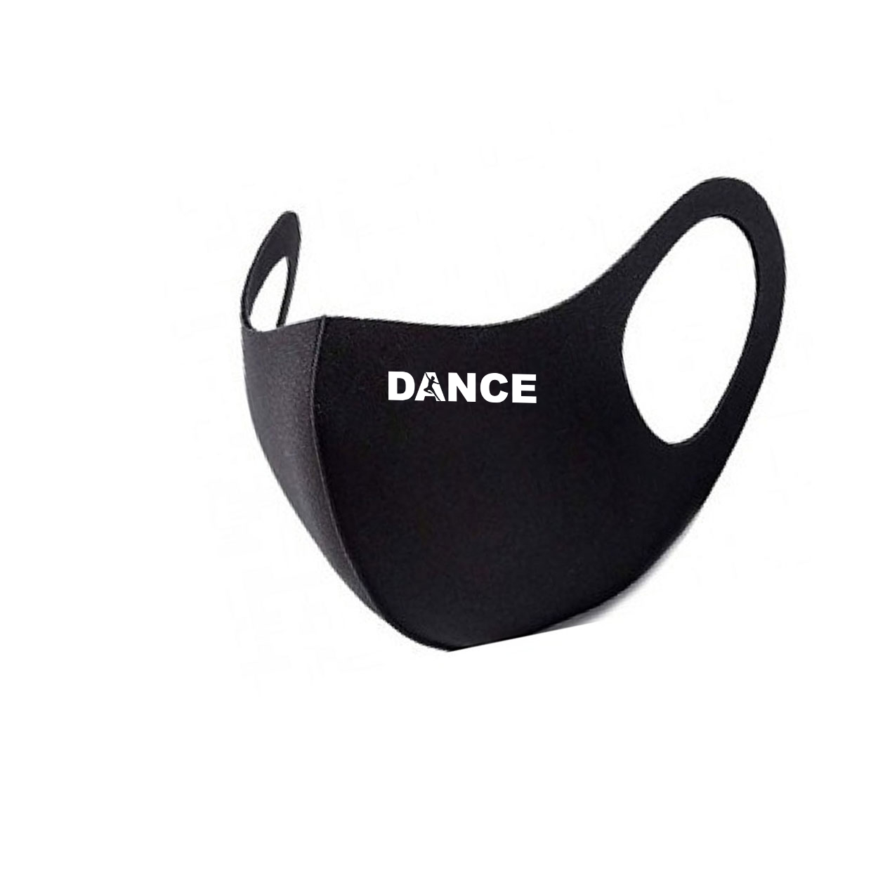 Dance Silhouette Logo Night Out Fitted Washable Face Mask Black (White Logo)