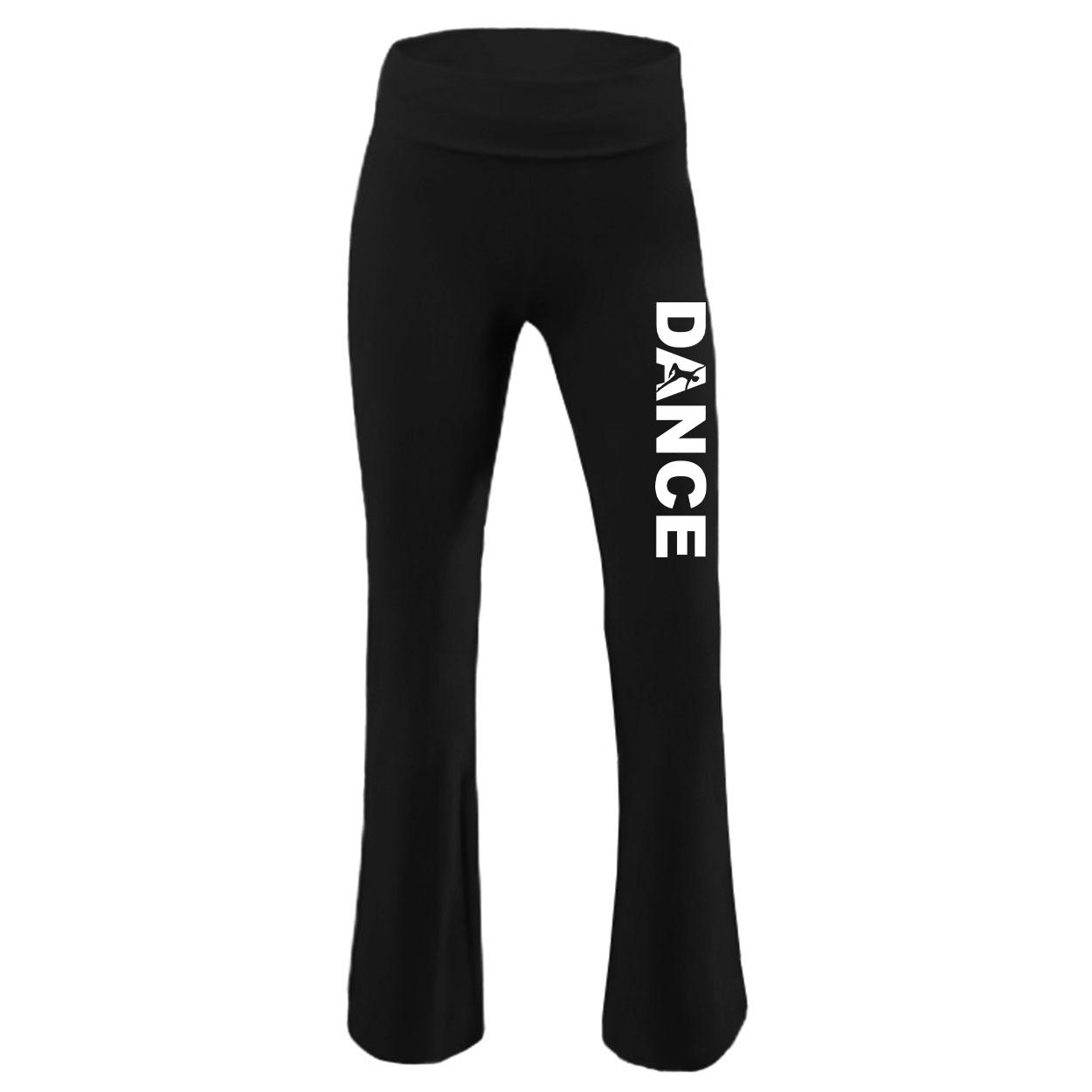 Dance Silhouette Logo Classic Youth Girls Yoga Pants Black (White Logo)