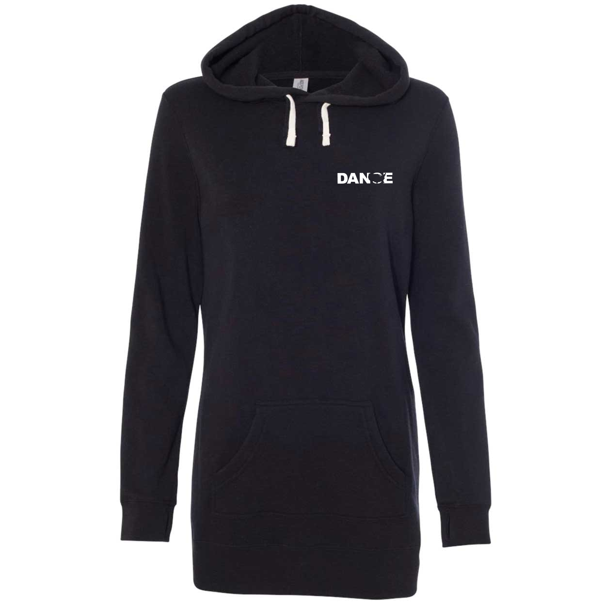 Dance United States Night Out Womens Pullover Hooded Sweatshirt Dress Black (White Logo)