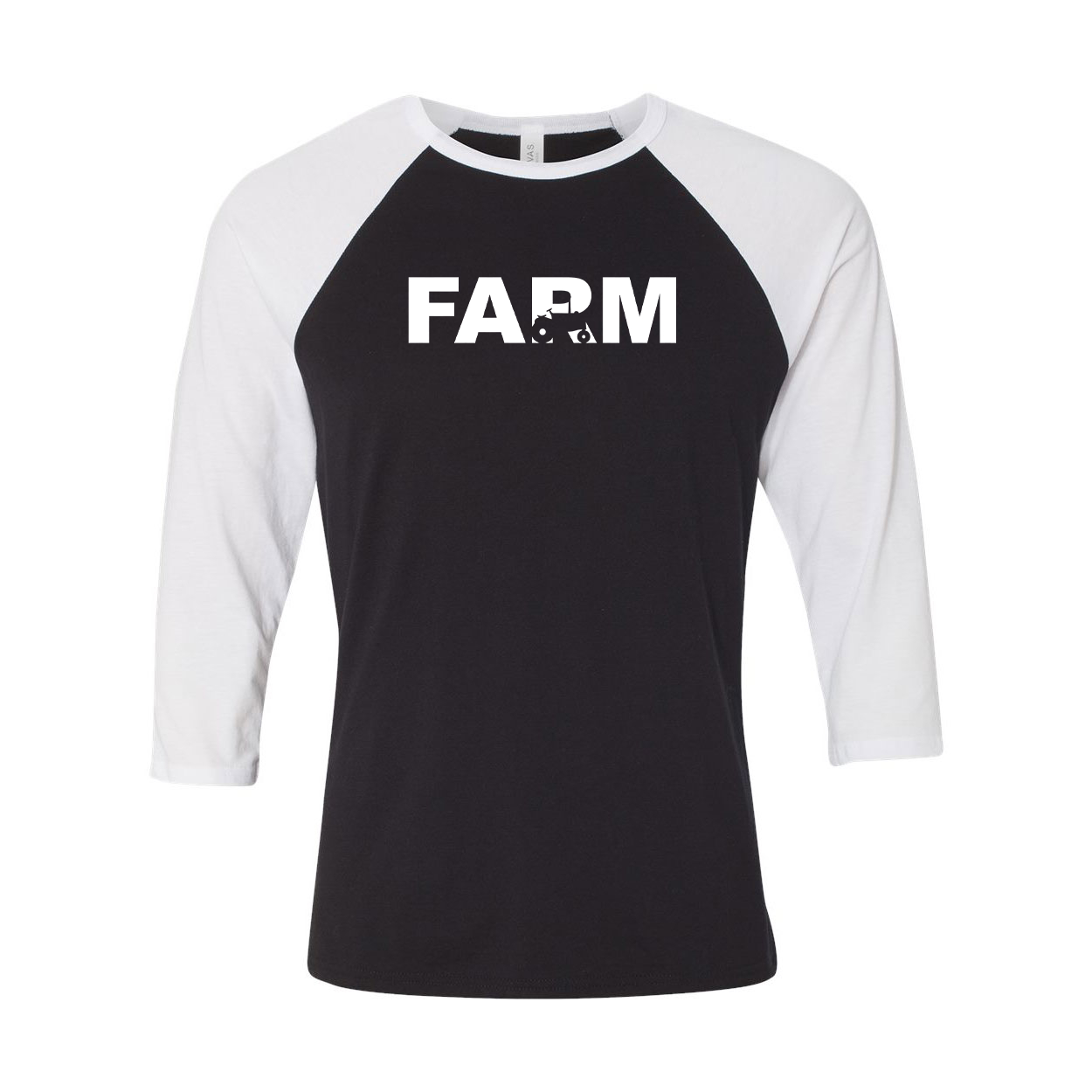 Farm Tractor Logo Classic Raglan Shirt Black/White (White Logo)
