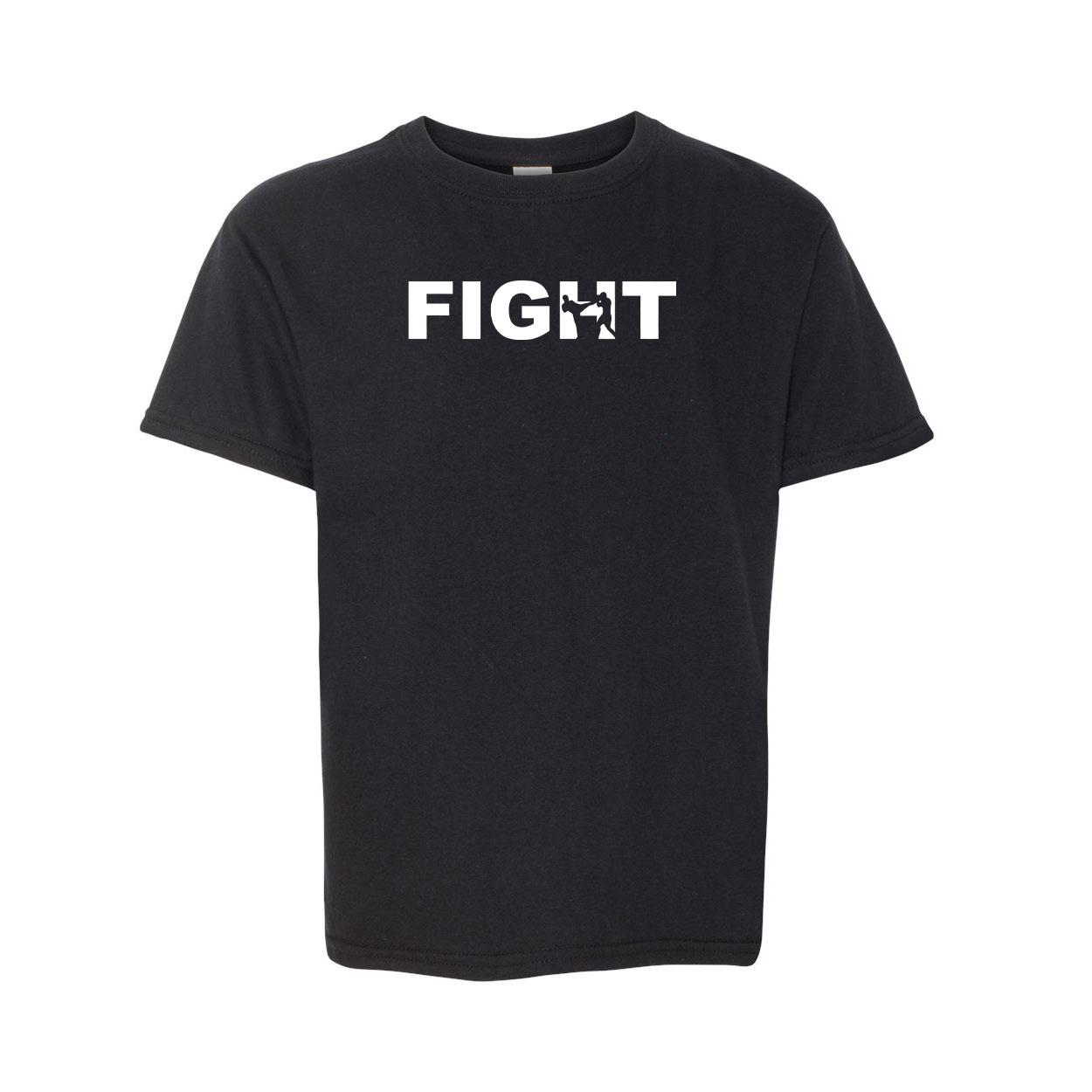 Fight Kick Logo Classic Youth T-Shirt Black (White Logo)