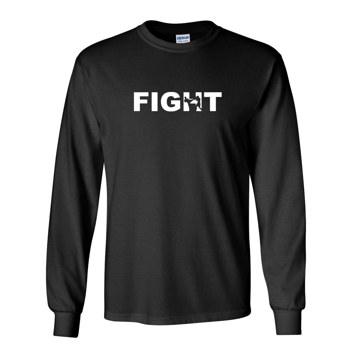Fight Kick Logo Classic Long Sleeve T-Shirt Black (White Logo)