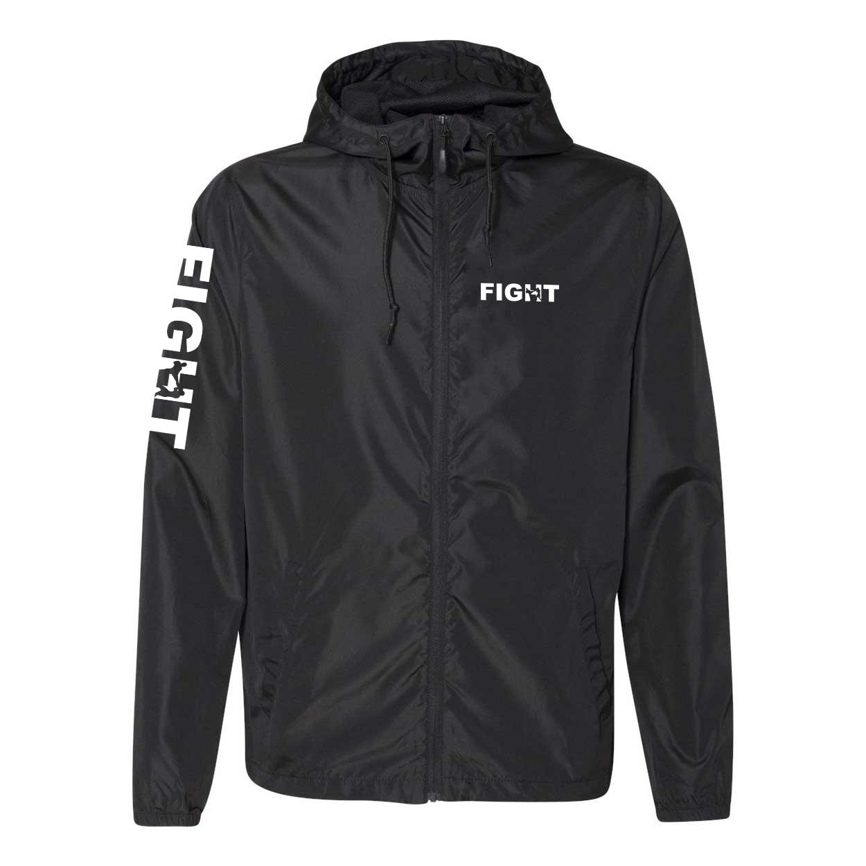 Fight Kick Logo Classic Lightweight Windbreaker Black (White Logo)