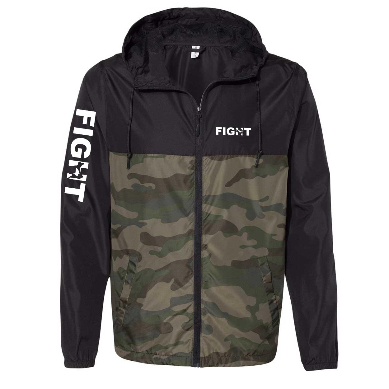 Fight Kick Logo Classic Lightweight Windbreaker Black/Forest Camo (White Logo)