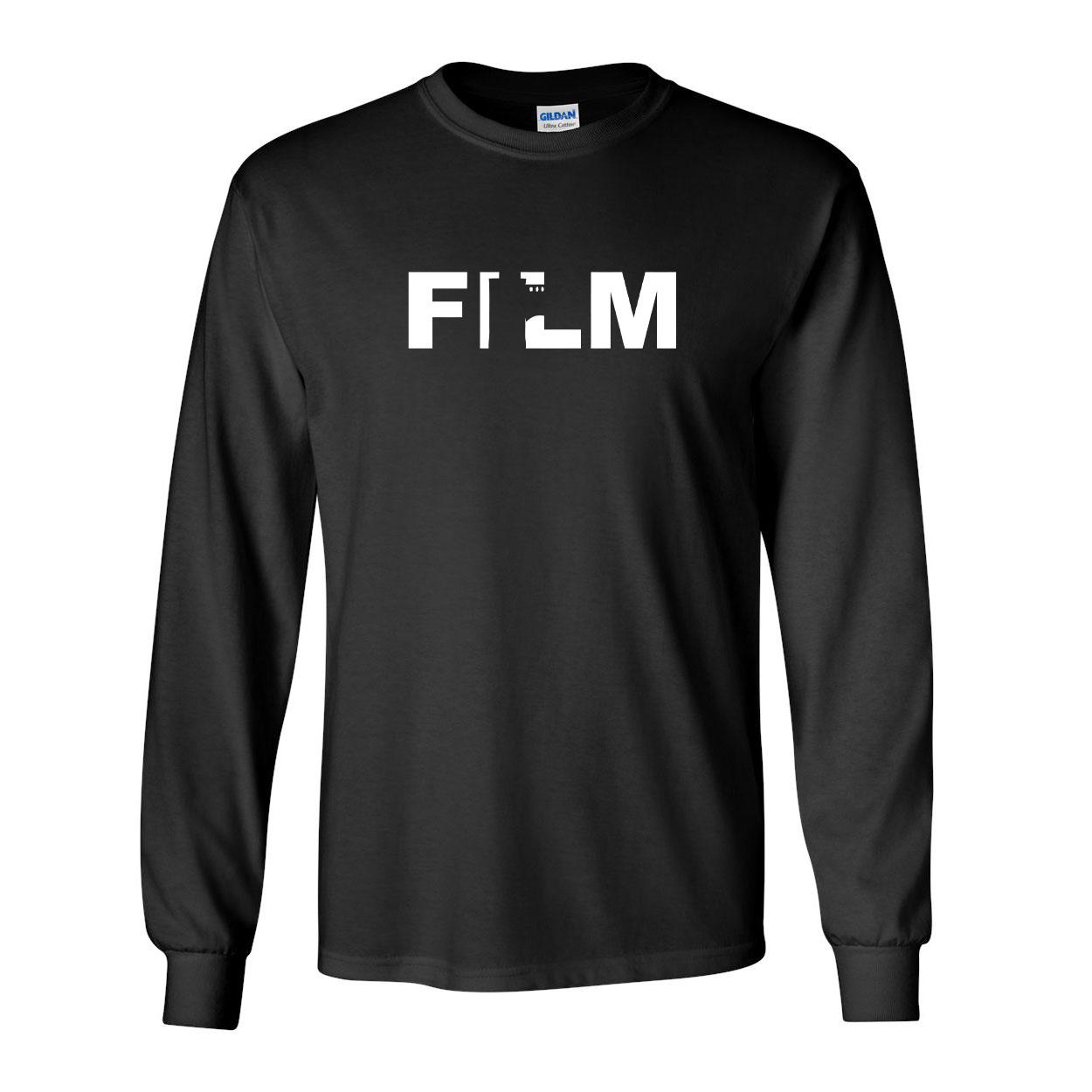 Film Roll Logo Classic Long Sleeve T-Shirt Black (White Logo)