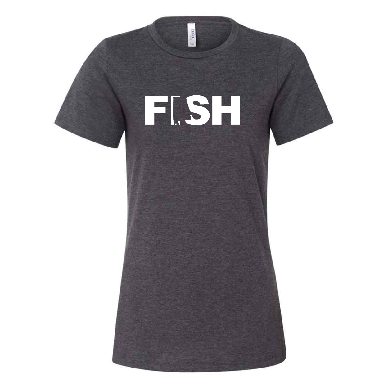 Fish Alabama Classic Women's Relaxed Jersey T-Shirt Dark Gray Heather (White Logo)