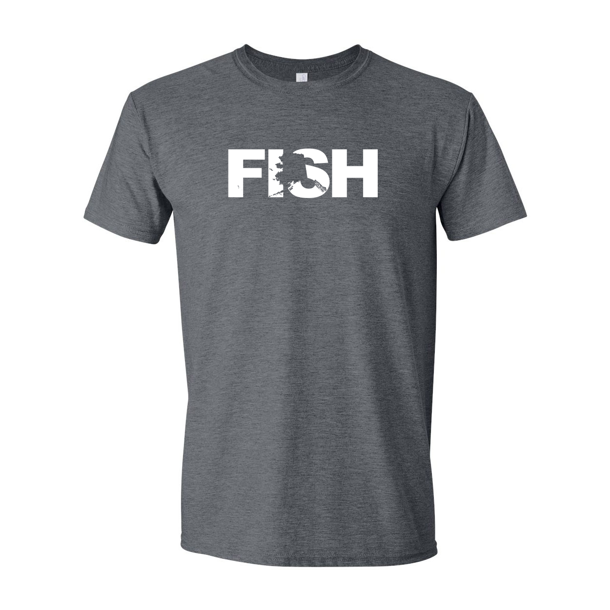 Fish Alaska Classic T-Shirt Dark Heather Gray (White Logo)